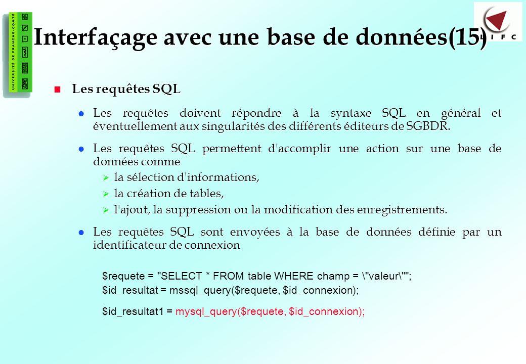 134 Interfaçage avec une base de données(15) Les requêtes SQL Les requêtes SQL Les requêtes doivent répondre à la syntaxe SQL en général et éventuelle