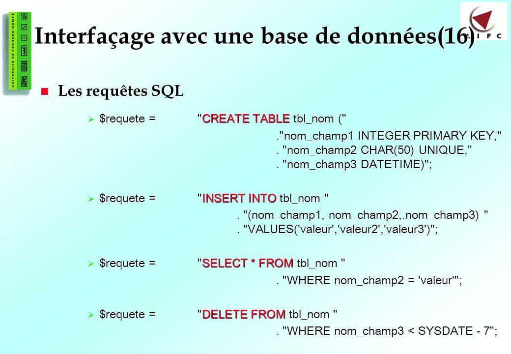 135 Interfaçage avec une base de données(16) Les requêtes SQL Les requêtes SQL $requete = CREATE TABLE tbl_nom ( $requete = CREATE TABLE tbl_nom ( . nom_champ1 INTEGER PRIMARY KEY, .