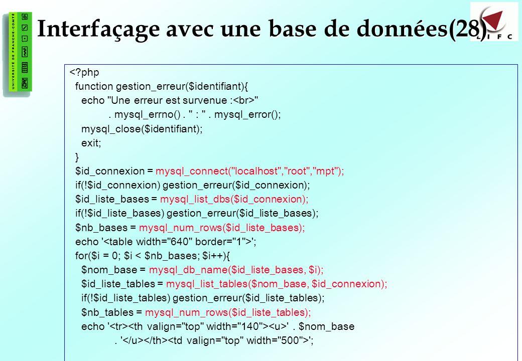 147 Interfaçage avec une base de données(28) <?php function gestion_erreur($identifiant){ echo Une erreur est survenue : .