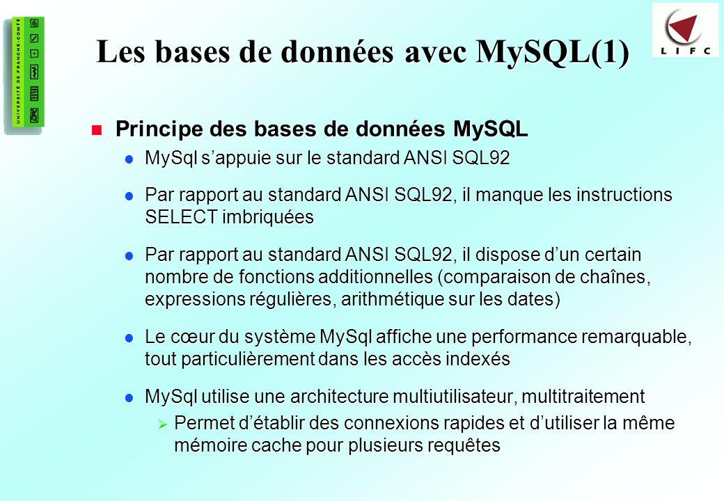 149 Les bases de données avec MySQL(1) Principe des bases de données MySQL Principe des bases de données MySQL MySql sappuie sur le standard ANSI SQL92 MySql sappuie sur le standard ANSI SQL92 Par rapport au standard ANSI SQL92, il manque les instructions SELECT imbriquées Par rapport au standard ANSI SQL92, il manque les instructions SELECT imbriquées Par rapport au standard ANSI SQL92, il dispose dun certain nombre de fonctions additionnelles (comparaison de chaînes, expressions régulières, arithmétique sur les dates) Par rapport au standard ANSI SQL92, il dispose dun certain nombre de fonctions additionnelles (comparaison de chaînes, expressions régulières, arithmétique sur les dates) Le cœur du système MySql affiche une performance remarquable, tout particulièrement dans les accès indexés Le cœur du système MySql affiche une performance remarquable, tout particulièrement dans les accès indexés MySql utilise une architecture multiutilisateur, multitraitement MySql utilise une architecture multiutilisateur, multitraitement Permet détablir des connexions rapides et dutiliser la même mémoire cache pour plusieurs requêtes Permet détablir des connexions rapides et dutiliser la même mémoire cache pour plusieurs requêtes