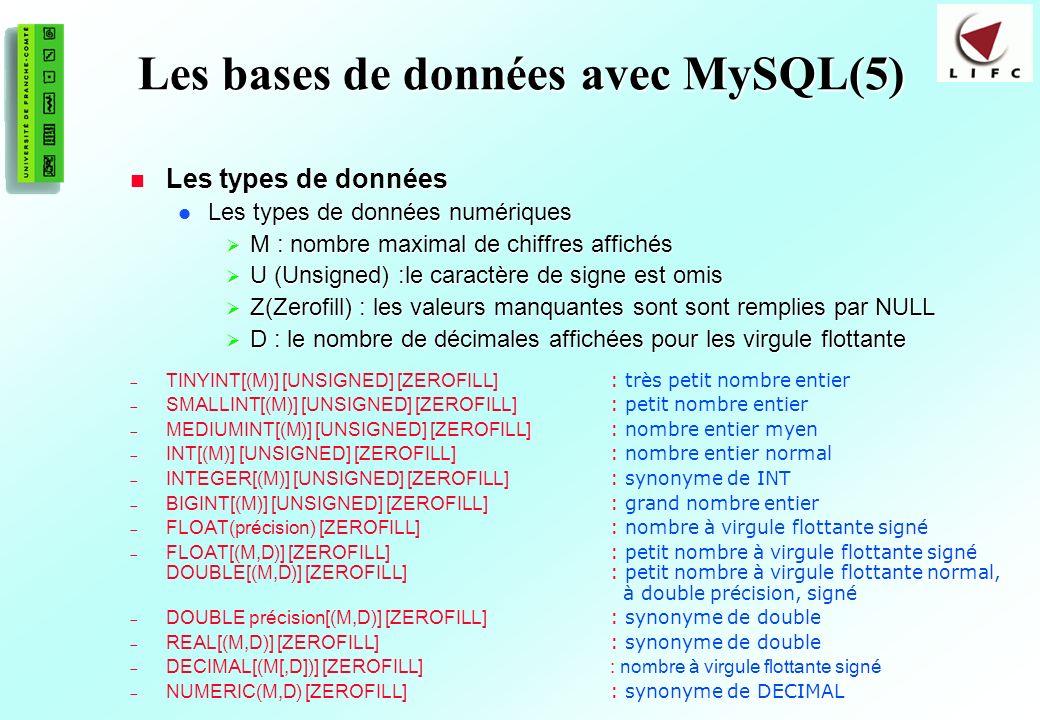 153 Les bases de données avec MySQL(5) Les types de données Les types de données Les types de données numériques Les types de données numériques M : nombre maximal de chiffres affichés M : nombre maximal de chiffres affichés U (Unsigned) :le caractère de signe est omis U (Unsigned) :le caractère de signe est omis Z(Zerofill) : les valeurs manquantes sont sont remplies par NULL Z(Zerofill) : les valeurs manquantes sont sont remplies par NULL D : le nombre de décimales affichées pour les virgule flottante D : le nombre de décimales affichées pour les virgule flottante TINYINT[(M)] [UNSIGNED] [ZEROFILL] : très petit nombre entier SMALLINT[(M)] [UNSIGNED] [ZEROFILL] : petit nombre entier MEDIUMINT[(M)] [UNSIGNED] [ZEROFILL] : nombre entier myen INT[(M)] [UNSIGNED] [ZEROFILL] : nombre entier normal INTEGER[(M)] [UNSIGNED] [ZEROFILL] : synonyme de INT BIGINT[(M)] [UNSIGNED] [ZEROFILL] : grand nombre entier FLOAT(précision) [ZEROFILL] : nombre à virgule flottante signé FLOAT[(M,D)] [ZEROFILL] : petit nombre à virgule flottante signé DOUBLE[(M,D)] [ZEROFILL] : petit nombre à virgule flottante normal, à double précision, signé DOUBLE précision[(M,D)] [ZEROFILL] : synonyme de double REAL[(M,D)] [ZEROFILL] : synonyme de double DECIMAL[(M[,D])] [ZEROFILL]: nombre à virgule flottante signé NUMERIC(M,D) [ZEROFILL] : synonyme de DECIMAL