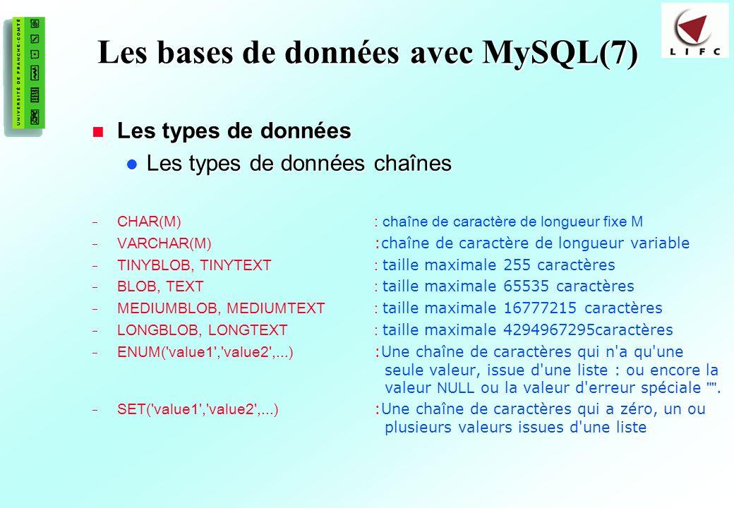 155 Les bases de données avec MySQL(7) Les types de données Les types de données Les types de données chaînes Les types de données chaînes CHAR(M) : chaîne de caractère de longueur fixe M VARCHAR(M) :chaîne de caractère de longueur variable TINYBLOB, TINYTEXT: taille maximale 255 caractères BLOB, TEXT: taille maximale 65535 caractères MEDIUMBLOB, MEDIUMTEXT: taille maximale 16777215 caractères LONGBLOB, LONGTEXT: taille maximale 4294967295caractères ENUM( value1 , value2 ,...) :Une chaîne de caractères qui n a qu une seule valeur, issue d une liste : ou encore la valeur NULL ou la valeur d erreur spéciale .