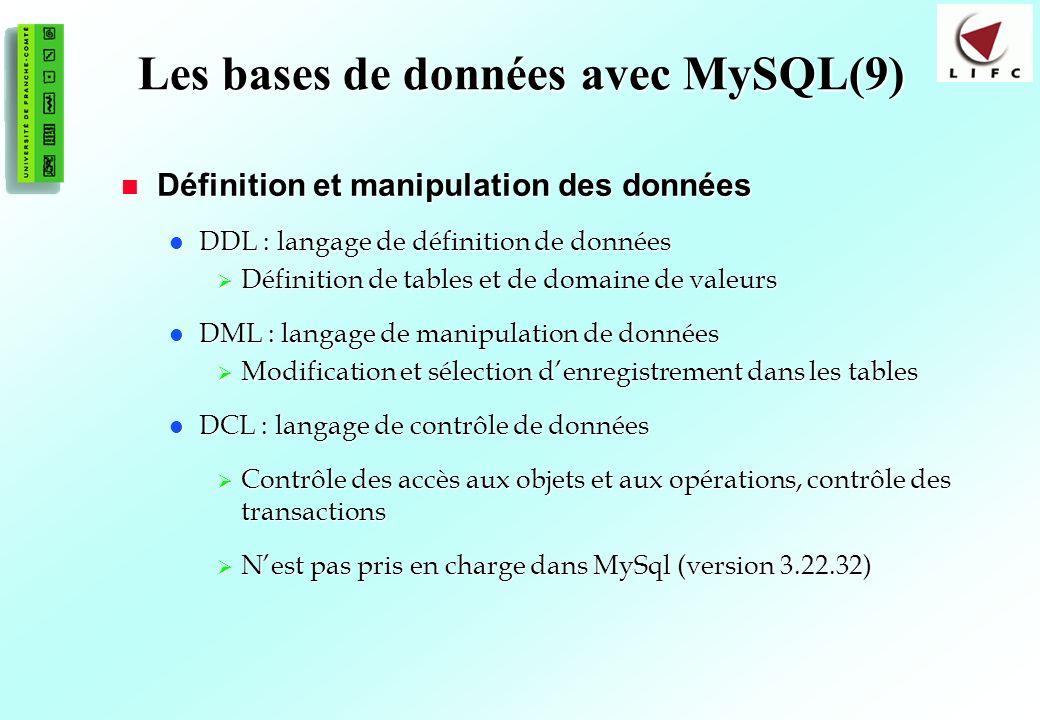 157 Les bases de données avec MySQL(9) Définition et manipulation des données Définition et manipulation des données DDL : langage de définition de données DDL : langage de définition de données Définition de tables et de domaine de valeurs Définition de tables et de domaine de valeurs DML : langage de manipulation de données DML : langage de manipulation de données Modification et sélection denregistrement dans les tables Modification et sélection denregistrement dans les tables DCL : langage de contrôle de données DCL : langage de contrôle de données Contrôle des accès aux objets et aux opérations, contrôle des transactions Contrôle des accès aux objets et aux opérations, contrôle des transactions Nest pas pris en charge dans MySql (version 3.22.32) Nest pas pris en charge dans MySql (version 3.22.32)