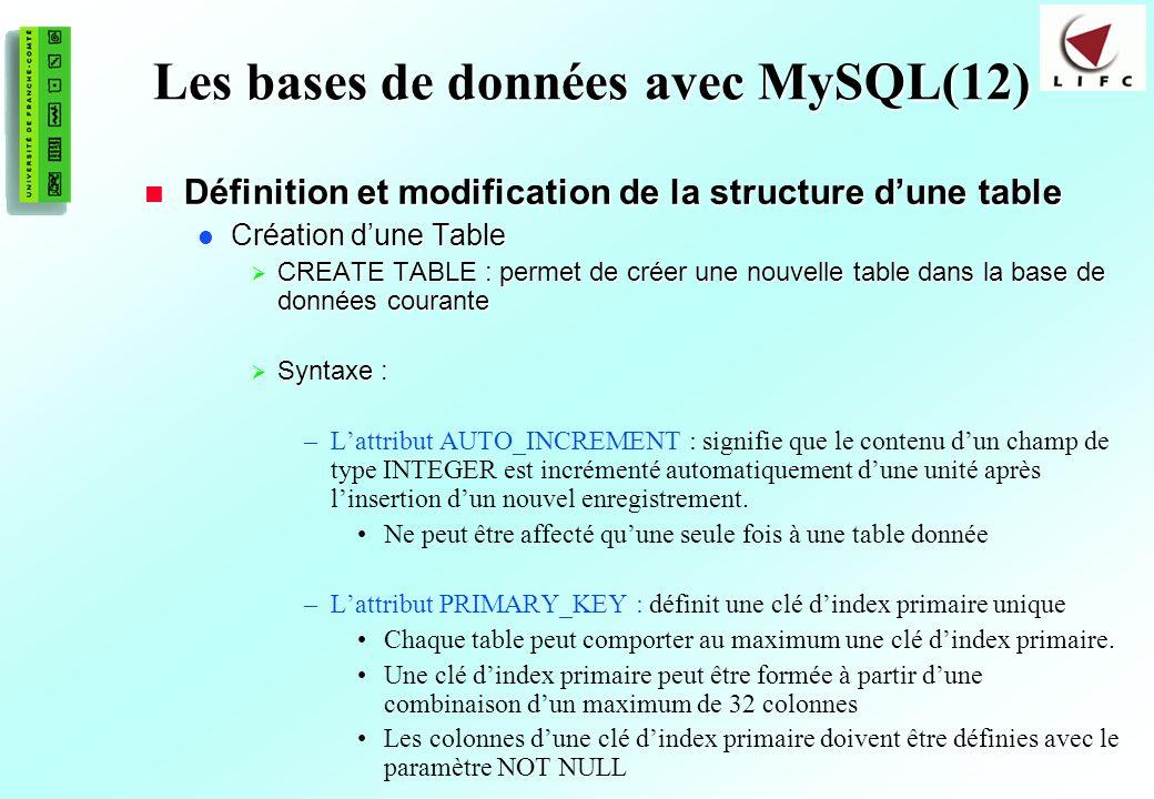 160 Les bases de données avec MySQL(12) Définition et modification de la structure dune table Définition et modification de la structure dune table Création dune Table Création dune Table CREATE TABLE : permet de créer une nouvelle table dans la base de données courante CREATE TABLE : permet de créer une nouvelle table dans la base de données courante Syntaxe : Syntaxe : –Lattribut AUTO_INCREMENT : signifie que le contenu dun champ de type INTEGER est incrémenté automatiquement dune unité après linsertion dun nouvel enregistrement.