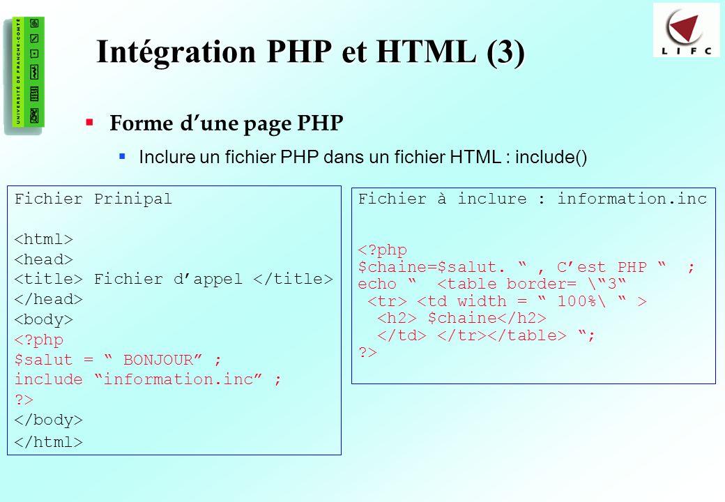 17 Intégration PHP et HTML (3) Forme dune page PHP Inclure un fichier PHP dans un fichier HTML : include() Fichier Prinipal Fichier dappel <?php $salut = BONJOUR ; include information.inc ; ?> Fichier à inclure : information.inc <?php $chaine=$salut., Cest PHP ; echo <table border= \3 $chaine ; ?>