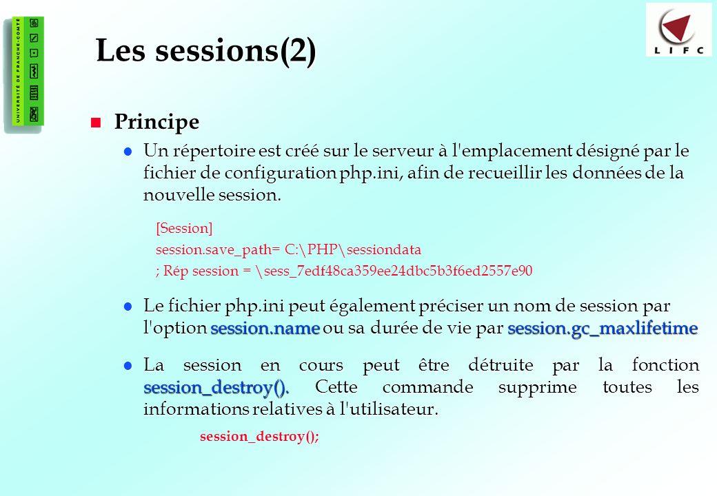 172 Les sessions(2) Principe Principe Un répertoire est créé sur le serveur à l emplacement désigné par le fichier de configuration php.ini, afin de recueillir les données de la nouvelle session.