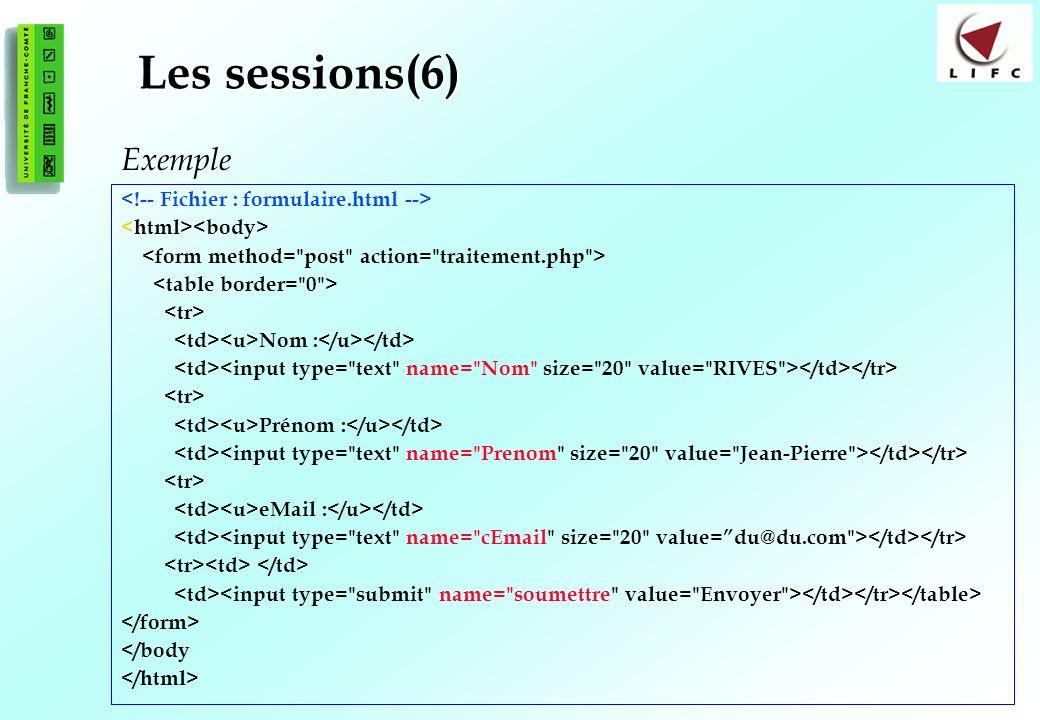 176 Les sessions(6) Nom : Prénom : eMail : </body Exemple