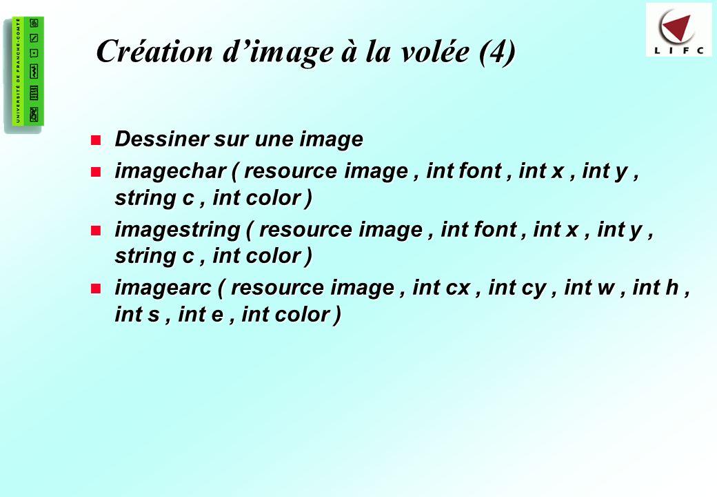 194 Création dimage à la volée (4) Dessiner sur une image Dessiner sur une image imagechar ( resource image, int font, int x, int y, string c, int col