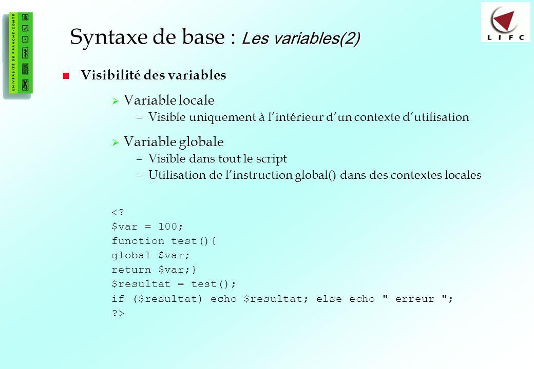 22 Syntaxe de base : Les variables(2) Visibilité des variables Variable locale –Visible uniquement à lintérieur dun contexte dutilisation Variable globale –Visible dans tout le script –Utilisation de linstruction global() dans des contextes locales <.