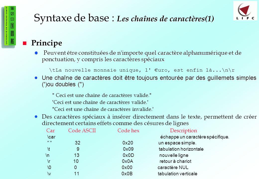 29 Syntaxe de base : Les chaînes de caractères(1) Principe Principe Peuvent être constituées de n importe quel caractère alphanumérique et de ponctuation, y compris les caractères spéciaux Peuvent être constituées de n importe quel caractère alphanumérique et de ponctuation, y compris les caractères spéciaux \tLa nouvelle monnaie unique, l uro, est enfin là...\n\r Une chaîne de caractères doit être toujours entourée par des guillemets simples ( )ou doubles ( ) Une chaîne de caractères doit être toujours entourée par des guillemets simples ( )ou doubles ( ) Ceci est une chaîne de caractères valide.