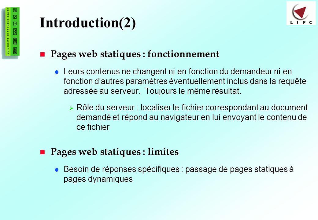 3 Introduction(2) Pages web statiques : fonctionnement Pages web statiques : fonctionnement Leurs contenus ne changent ni en fonction du demandeur ni en fonction dautres paramètres éventuellement inclus dans la requête adressée au serveur.