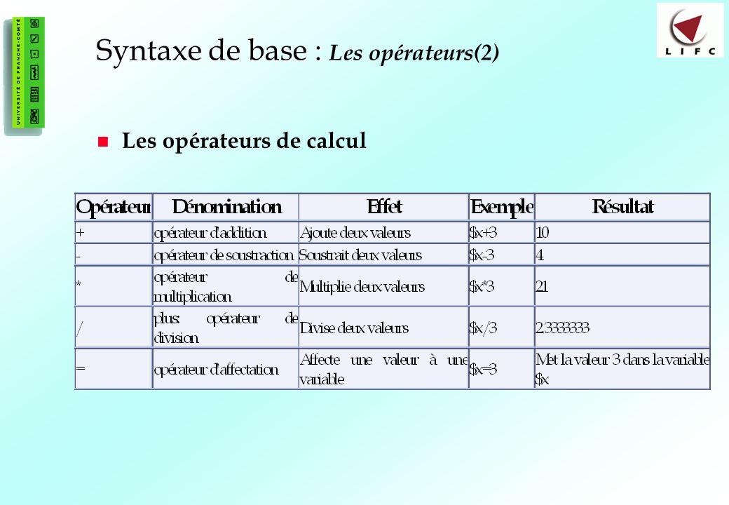 32 Syntaxe de base : Syntaxe de base : Les opérateurs(2) Les opérateurs de calcul