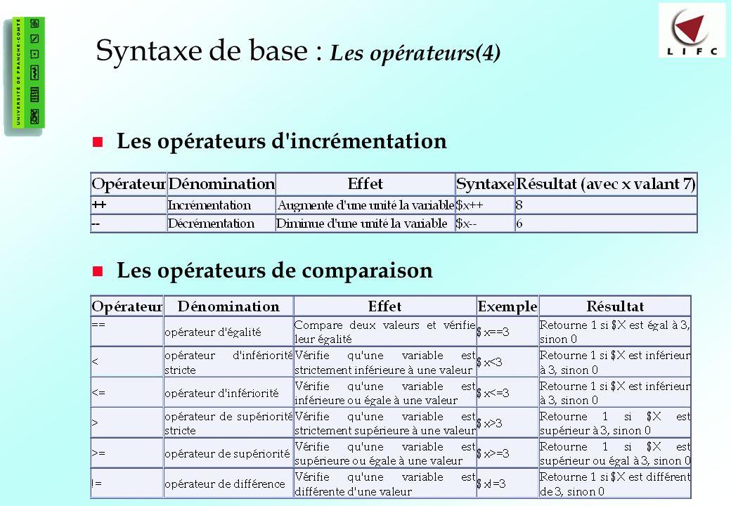 34 Syntaxe de base : Syntaxe de base : Les opérateurs(4) Les opérateurs d incrémentation Les opérateurs de comparaison