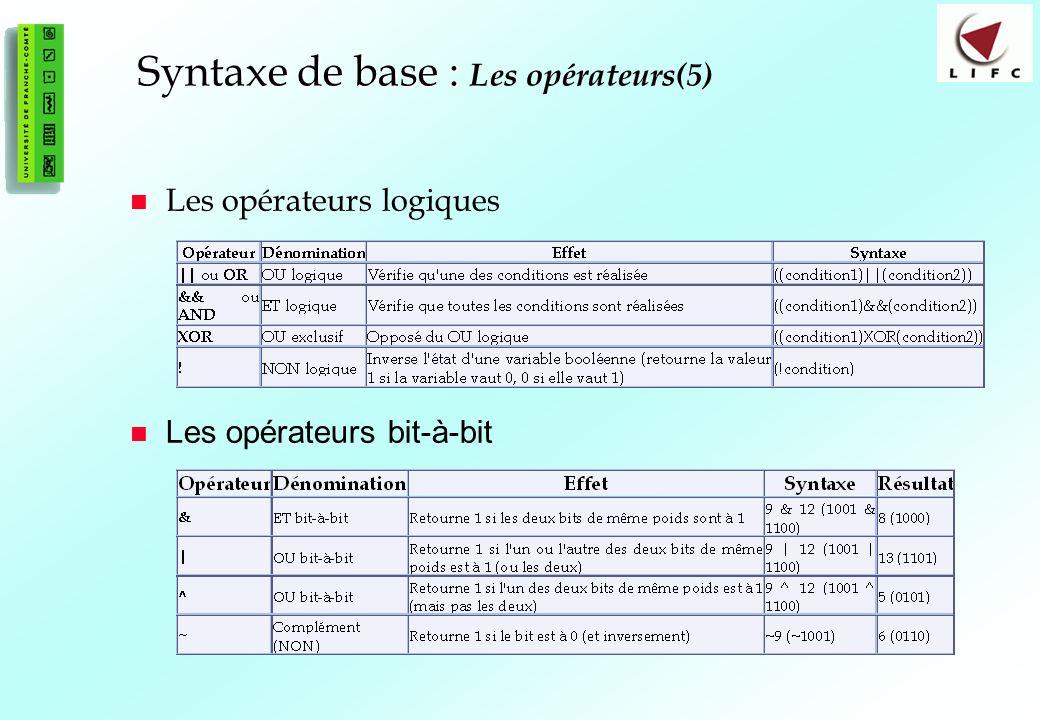 35 Syntaxe de base : Syntaxe de base : Les opérateurs(5) Les opérateurs logiques Les opérateurs bit-à-bit