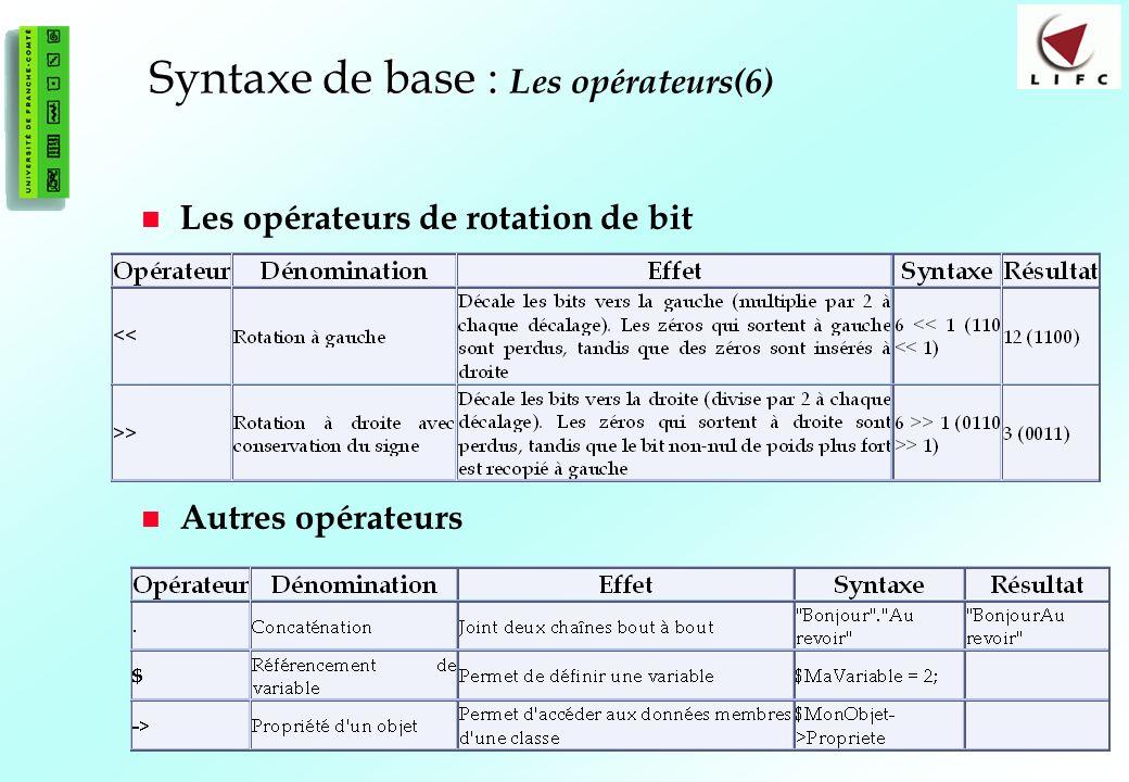 36 Syntaxe de base : Syntaxe de base : Les opérateurs(6) Les opérateurs de rotation de bit Autres opérateurs