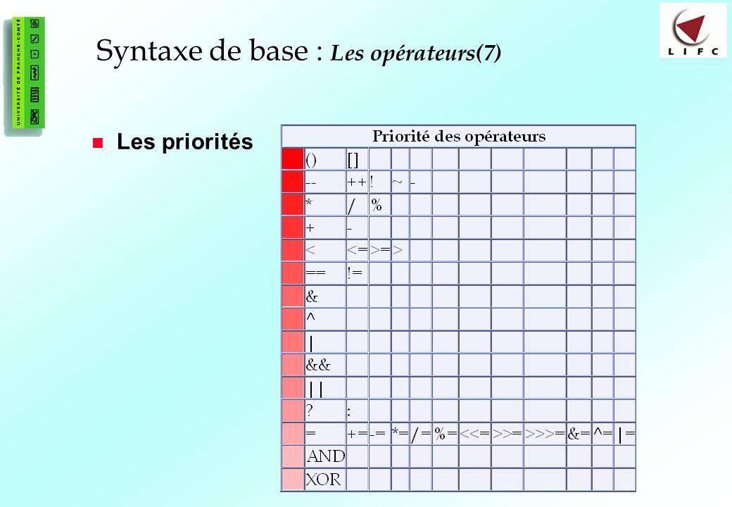 37 Syntaxe de base : Syntaxe de base : Les opérateurs(7) Les priorités