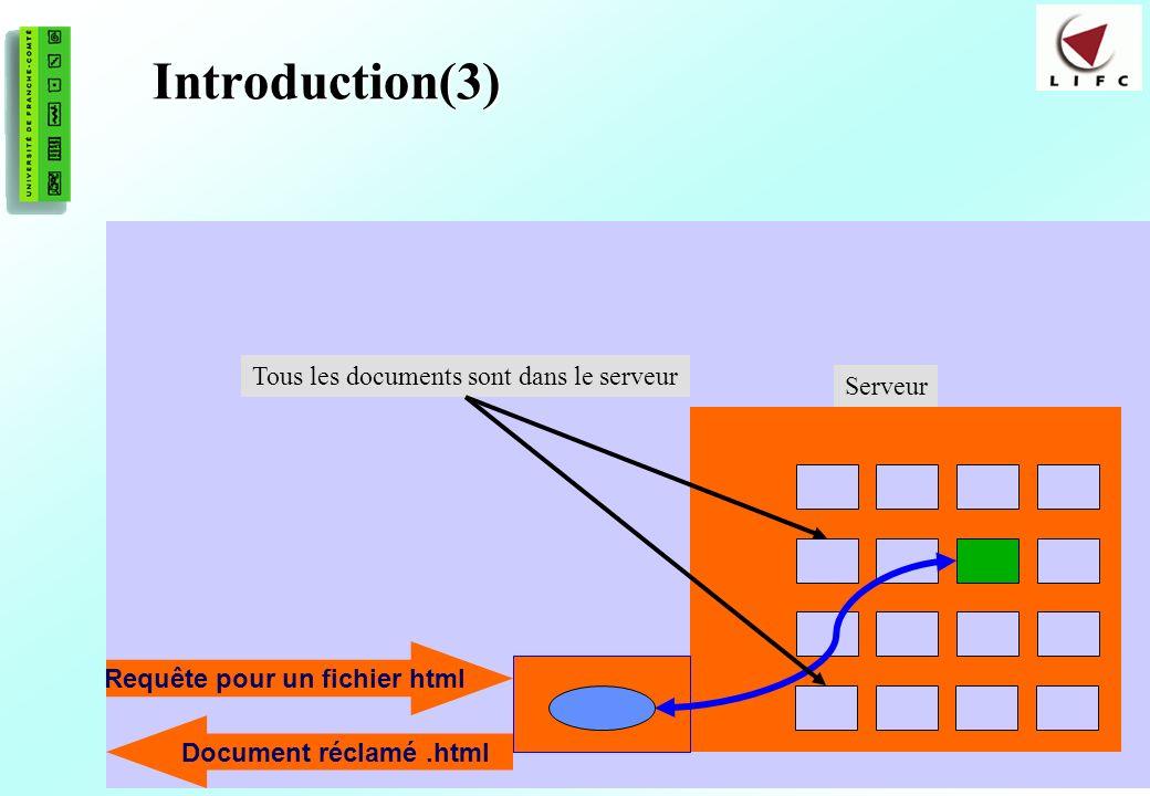 4 Introduction(3) Tous les documents sont dans le serveur Requête pour un fichier html Document réclamé.html Serveur