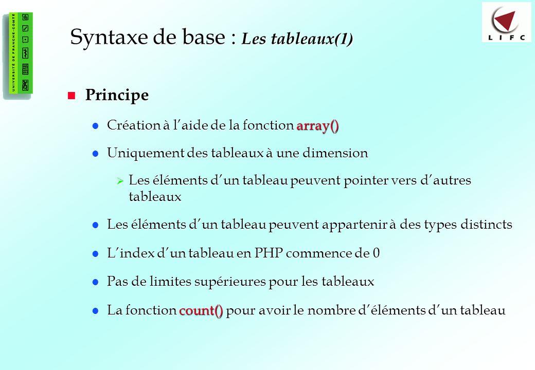 46 Syntaxe de base : Les tableaux (1) Principe Principe Création à laide de la fonction array() Création à laide de la fonction array() Uniquement des