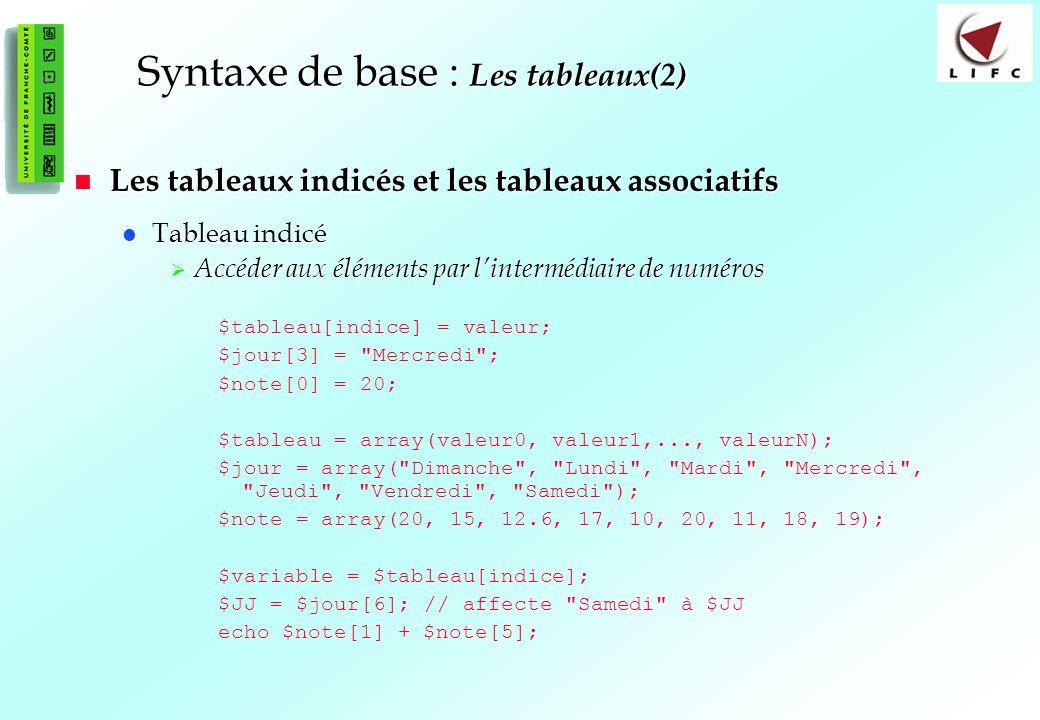 47 Syntaxe de base : Les tableaux(2) Les tableaux indicés et les tableaux associatifs Les tableaux indicés et les tableaux associatifs Tableau indicé Tableau indicé Accéder aux éléments par lintermédiaire de numéros Accéder aux éléments par lintermédiaire de numéros $tableau[indice] = valeur; $jour[3] = Mercredi ; $note[0] = 20; $tableau = array(valeur0, valeur1,..., valeurN); $jour = array( Dimanche , Lundi , Mardi , Mercredi , Jeudi , Vendredi , Samedi ); $note = array(20, 15, 12.6, 17, 10, 20, 11, 18, 19); $variable = $tableau[indice]; $JJ = $jour[6]; // affecte Samedi à $JJ echo $note[1] + $note[5];