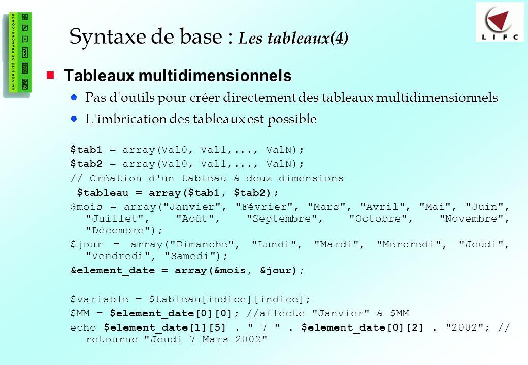 49 Tableaux multidimensionnels Tableaux multidimensionnels Pas d'outils pour créer directement des tableaux multidimensionnels Pas d'outils pour créer