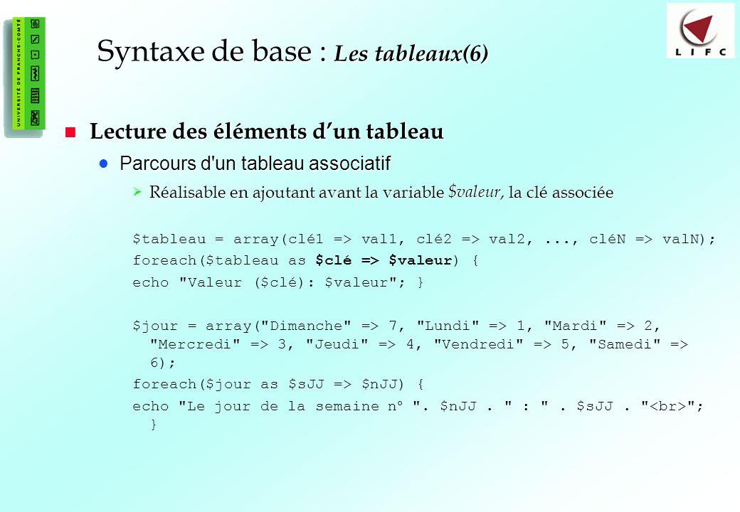51 Syntaxe de base : Les tableaux(6) Lecture des éléments dun tableau Lecture des éléments dun tableau Parcours d un tableau associatif Parcours d un tableau associatif Réalisable en ajoutant avant la variable $valeur, la clé associée Réalisable en ajoutant avant la variable $valeur, la clé associée $tableau = array(clé1 => val1, clé2 => val2,..., cléN => valN); foreach($tableau as $clé => $valeur) { echo Valeur ($clé): $valeur ; } $jour = array( Dimanche => 7, Lundi => 1, Mardi => 2, Mercredi => 3, Jeudi => 4, Vendredi => 5, Samedi => 6); foreach($jour as $sJJ => $nJJ) { echo Le jour de la semaine n° .