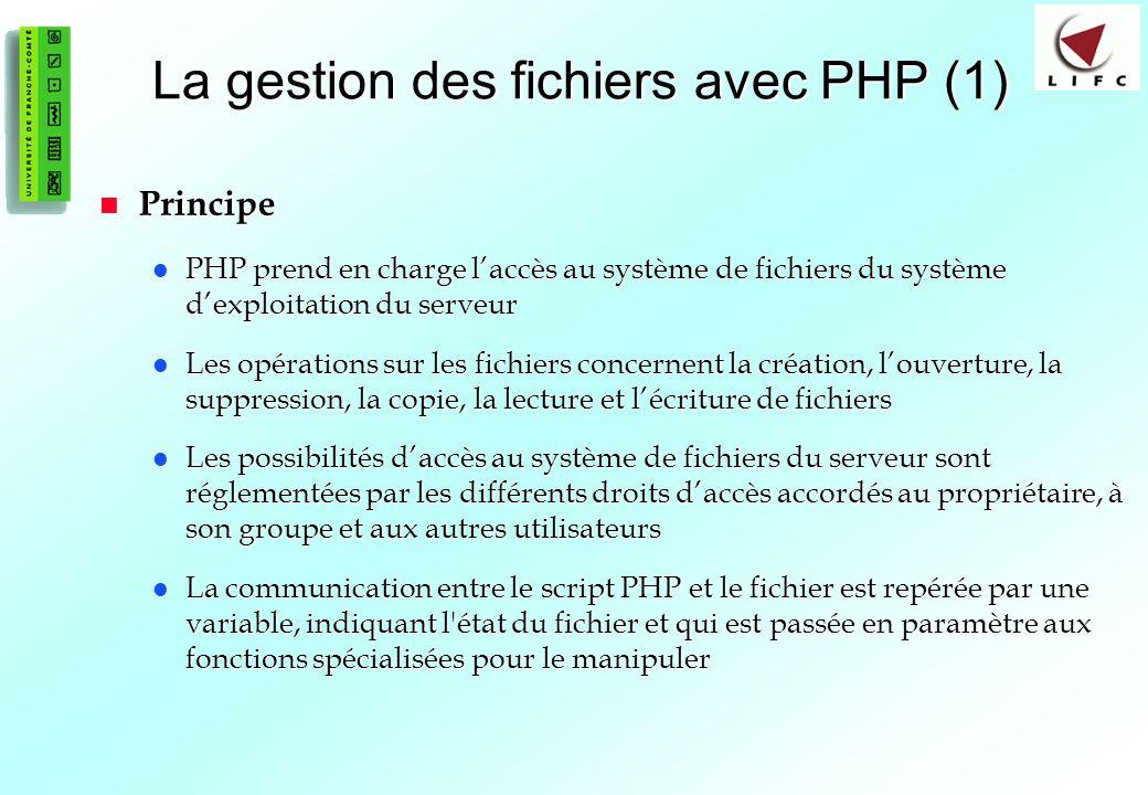 71 La gestion des fichiers avec PHP (1) Principe Principe PHP prend en charge laccès au système de fichiers du système dexploitation du serveur PHP pr