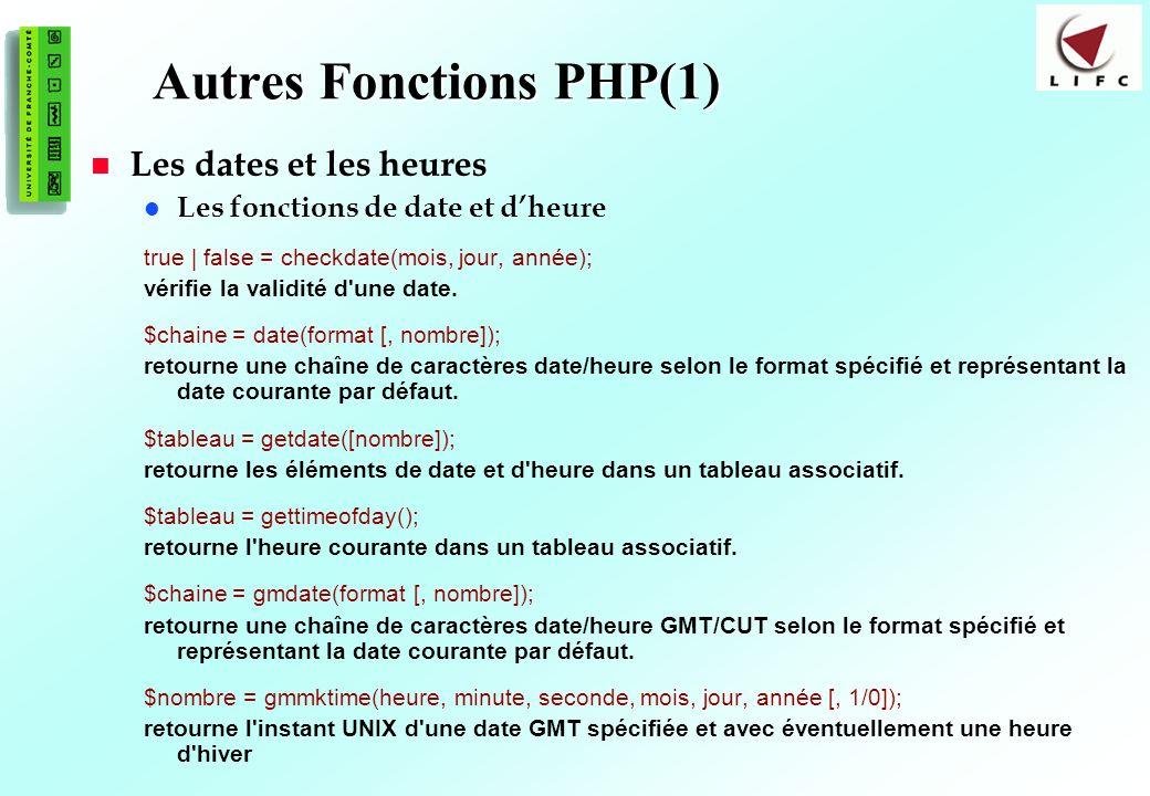 96 Autres Fonctions PHP(1) Les dates et les heures Les fonctions de date et dheure true | false = checkdate(mois, jour, année); vérifie la validité d'