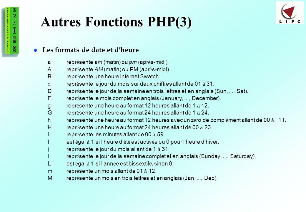 98 Autres Fonctions PHP(3) Les formats de date et d'heure arepr é sente am (matin) ou pm (apr è s-midi). Arepr é sente AM (matin) ou PM (apr è s-midi)