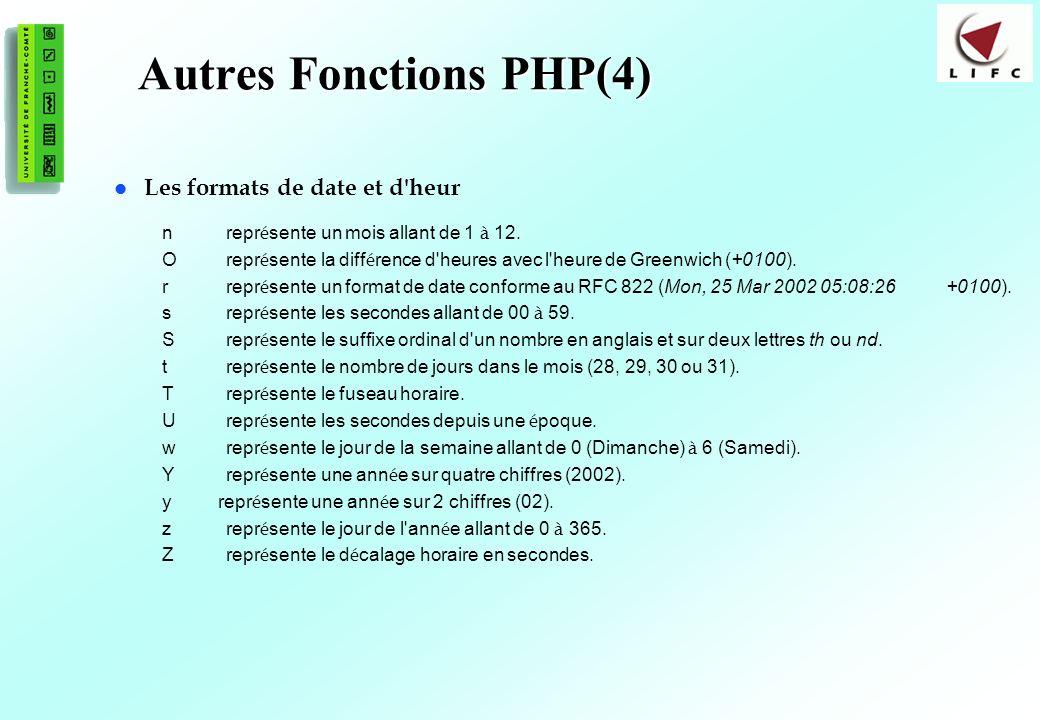 99 Autres Fonctions PHP(4) Les formats de date et d'heur nrepr é sente un mois allant de 1 à 12. Orepr é sente la diff é rence d'heures avec l'heure d
