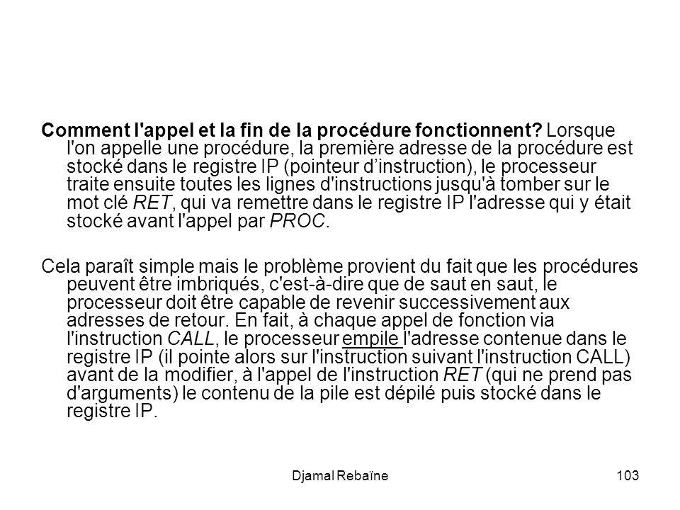 Djamal Rebaïne103 Comment l'appel et la fin de la procédure fonctionnent? Lorsque l'on appelle une procédure, la première adresse de la procédure est