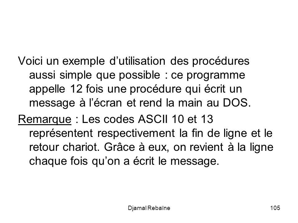 Djamal Rebaïne105 Voici un exemple dutilisation des procédures aussi simple que possible : ce programme appelle 12 fois une procédure qui écrit un message à lécran et rend la main au DOS.