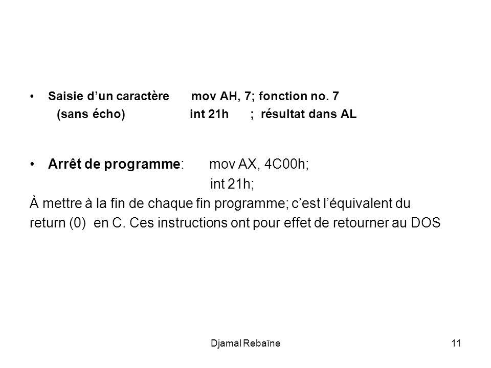 Djamal Rebaïne11 Saisie dun caractère mov AH, 7; fonction no. 7 (sans écho) int 21h ; résultat dans AL Arrêt de programme: mov AX, 4C00h; int 21h; À m
