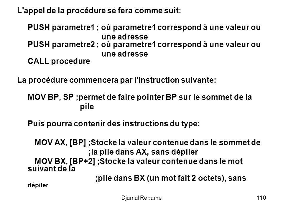 Djamal Rebaïne110 L appel de la procédure se fera comme suit: PUSH parametre1 ; où parametre1 correspond à une valeur ou une adresse PUSH parametre2 ; où parametre1 correspond à une valeur ou une adresse CALL procedure La procédure commencera par l instruction suivante: MOV BP, SP ;permet de faire pointer BP sur le sommet de la pile Puis pourra contenir des instructions du type: MOV AX, [BP] ;Stocke la valeur contenue dans le sommet de ;la pile dans AX, sans dépiler MOV BX, [BP+2] ;Stocke la valeur contenue dans le mot suivant de la ;pile dans BX (un mot fait 2 octets), sans dépiler