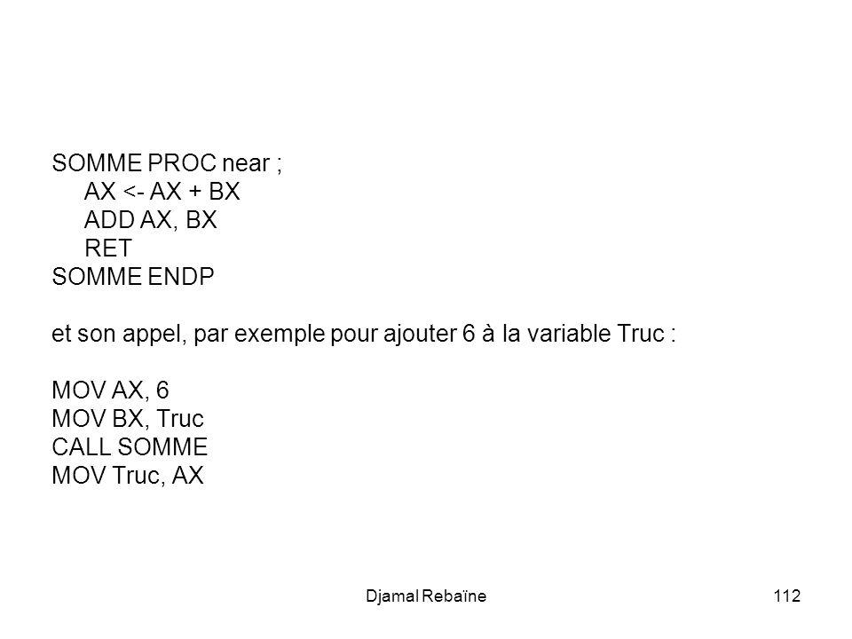 Djamal Rebaïne112 SOMME PROC near ; AX <- AX + BX ADD AX, BX RET SOMME ENDP et son appel, par exemple pour ajouter 6 à la variable Truc : MOV AX, 6 MOV BX, Truc CALL SOMME MOV Truc, AX