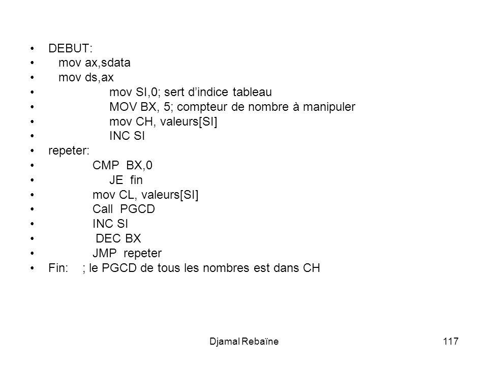 Djamal Rebaïne117 DEBUT: mov ax,sdata mov ds,ax mov SI,0; sert dindice tableau MOV BX, 5; compteur de nombre à manipuler mov CH, valeurs[SI] INC SI repeter: CMP BX,0 JE fin mov CL, valeurs[SI] Call PGCD INC SI DEC BX JMP repeter Fin: ; le PGCD de tous les nombres est dans CH