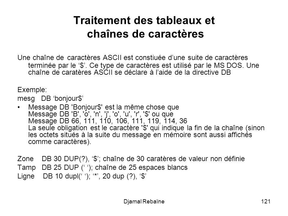 Djamal Rebaïne121 Traitement des tableaux et chaînes de caractères Une chaîne de caractères ASCII est constiuée dune suite de caractères terminée par le $.