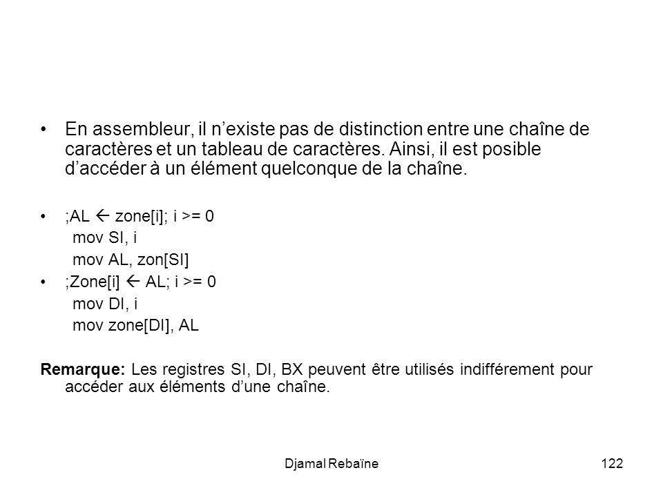 Djamal Rebaïne122 En assembleur, il nexiste pas de distinction entre une chaîne de caractères et un tableau de caractères. Ainsi, il est posible daccé