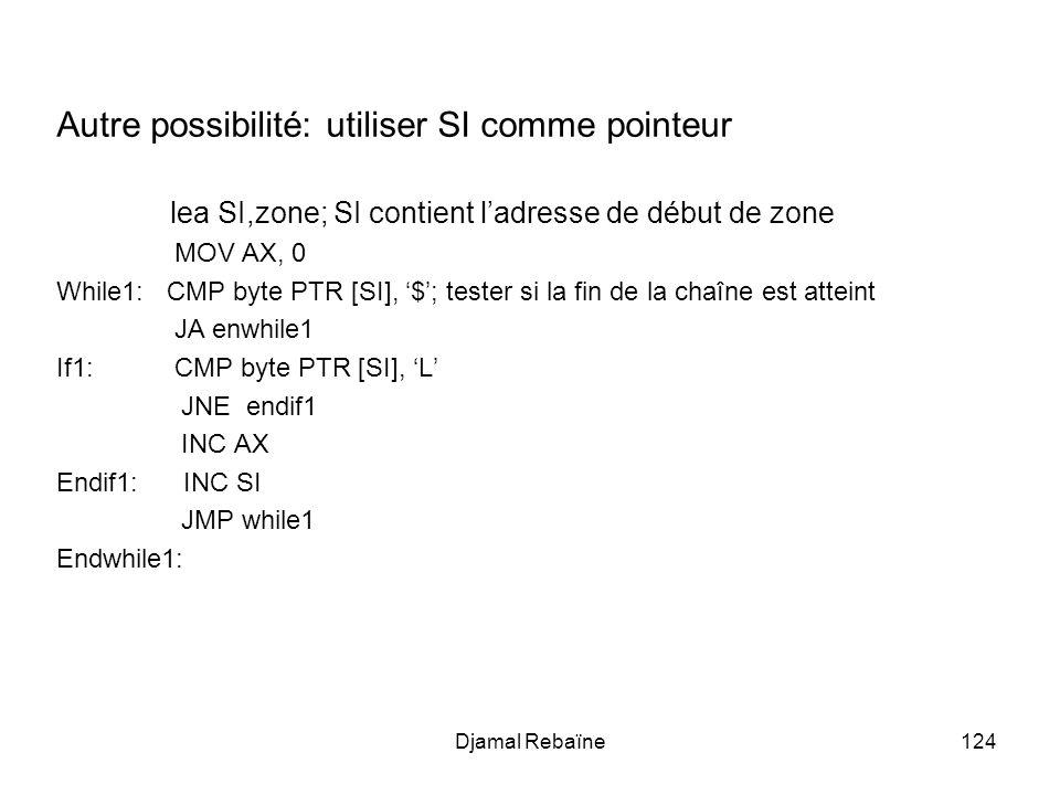 Djamal Rebaïne124 Autre possibilité: utiliser SI comme pointeur lea SI,zone; SI contient ladresse de début de zone MOV AX, 0 While1: CMP byte PTR [SI], $; tester si la fin de la chaîne est atteint JA enwhile1 If1: CMP byte PTR [SI], L JNE endif1 INC AX Endif1: INC SI JMP while1 Endwhile1: