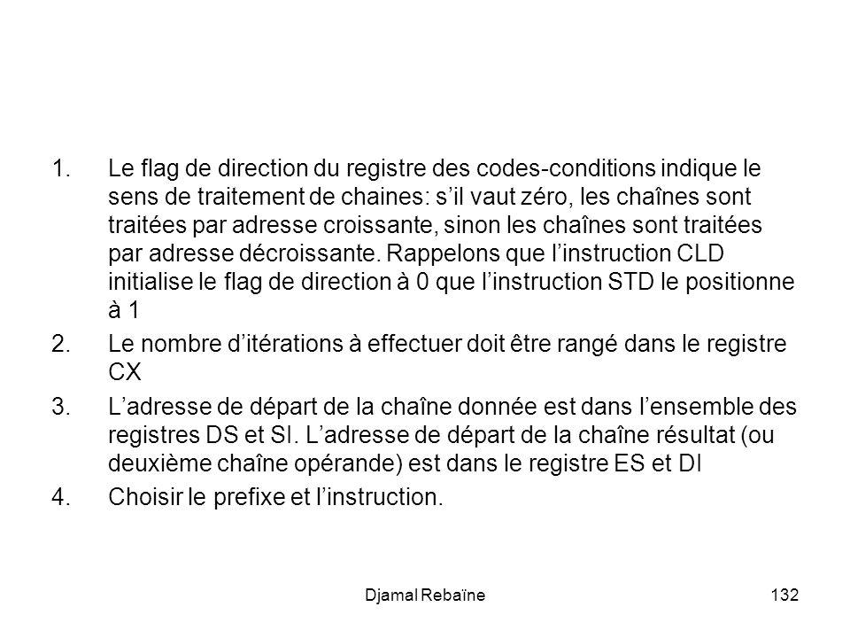 Djamal Rebaïne132 1.Le flag de direction du registre des codes-conditions indique le sens de traitement de chaines: sil vaut zéro, les chaînes sont traitées par adresse croissante, sinon les chaînes sont traitées par adresse décroissante.