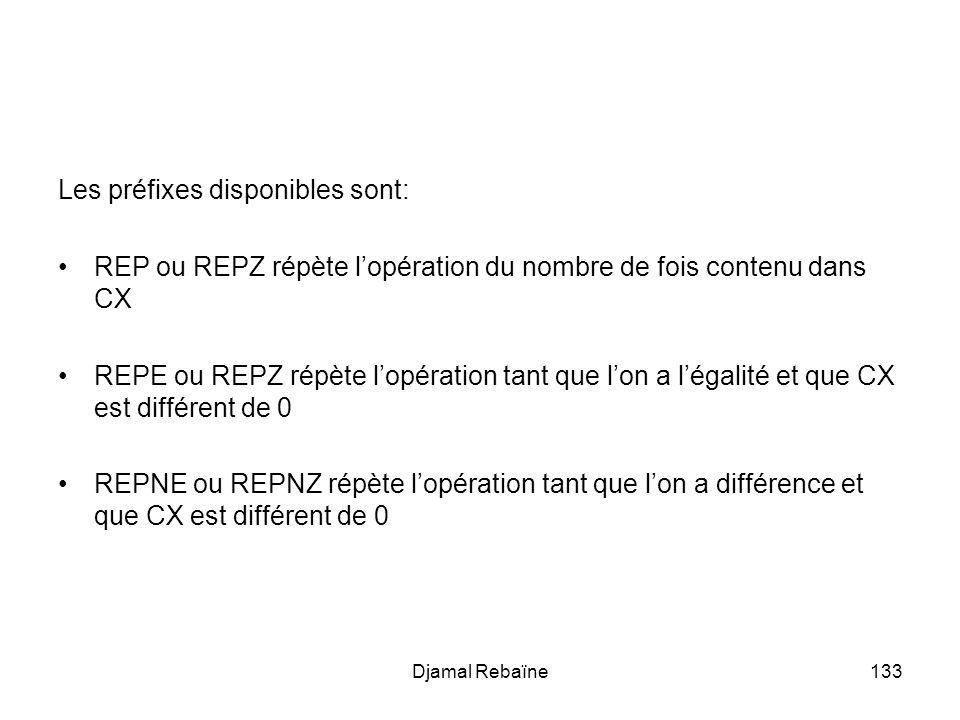 Djamal Rebaïne133 Les préfixes disponibles sont: REP ou REPZ répète lopération du nombre de fois contenu dans CX REPE ou REPZ répète lopération tant que lon a légalité et que CX est différent de 0 REPNE ou REPNZ répète lopération tant que lon a différence et que CX est différent de 0