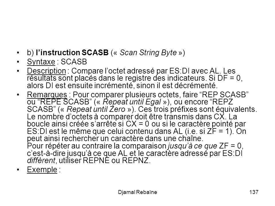 Djamal Rebaïne137 b) linstruction SCASB (« Scan String Byte ») Syntaxe : SCASB Description : Compare loctet adressé par ES:DI avec AL. Les résultats s