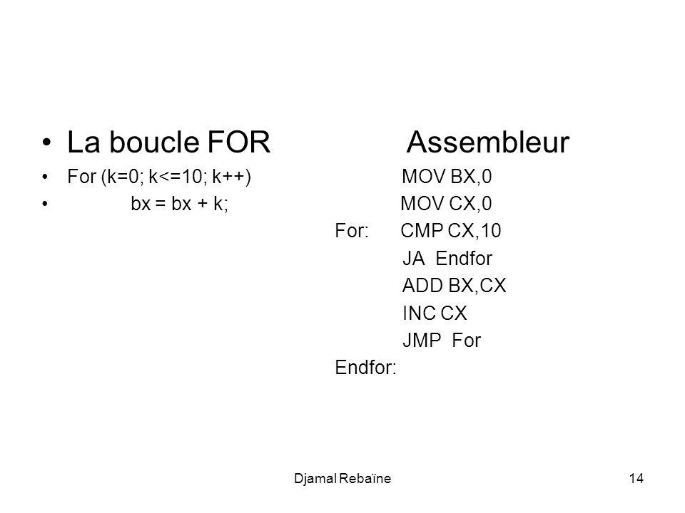 Djamal Rebaïne14 La boucle FOR Assembleur For (k=0; k<=10; k++) MOV BX,0 bx = bx + k; MOV CX,0 For: CMP CX,10 JA Endfor ADD BX,CX INC CX JMP For Endfor:
