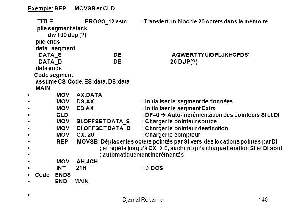 Djamal Rebaïne140 Exemple: REP MOVSB et CLD TITLE PROG3_12.asm;Transfert un bloc de 20 octets dans la mémoire pile segment stack dw 100 dup (?) pile ends data segment DATA_S DB AQWERTTYUIOPLJKHGFDS DATA_D DB 20 DUP(?) data ends Code segment assume CS:Code, ES:data, DS:data MAIN MOV AX,DATA MOV DS,AX; Initialiser le segment de données MOV ES,AX; Initialiser le segment Extra CLD ; DF=0 Auto-incrémentation des pointeurs SI et DI MOV SI,OFFSET DATA_S ; Charger le pointeur source MOV DI,OFFSET DATA_D ; Charger le pointeur destination MOV CX, 20 ; Charger le compteur REP MOVSB; Déplacer les octets pointés par SI vers des locations pointés par DI ; et répète jusquà CX 0, sachant qua chaque itération SI et DI sont ; automatiquement incrémentés MOV AH,4CH INT 21H ; DOS Code ENDS END MAIN