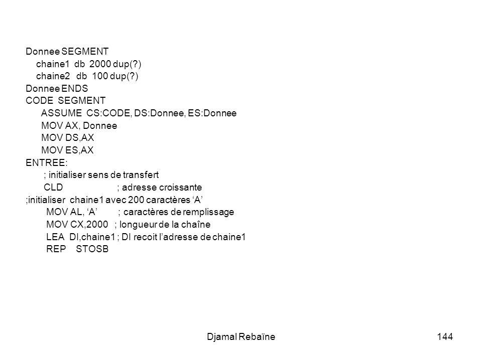 Djamal Rebaïne144 Donnee SEGMENT chaine1 db 2000 dup(?) chaine2 db 100 dup(?) Donnee ENDS CODE SEGMENT ASSUME CS:CODE, DS:Donnee, ES:Donnee MOV AX, Donnee MOV DS,AX MOV ES,AX ENTREE: ; initialiser sens de transfert CLD ; adresse croissante ;initialiser chaine1 avec 200 caractères A MOV AL, A ; caractères de remplissage MOV CX,2000 ; longueur de la chaîne LEA DI,chaine1 ; DI recoit ladresse de chaine1 REP STOSB