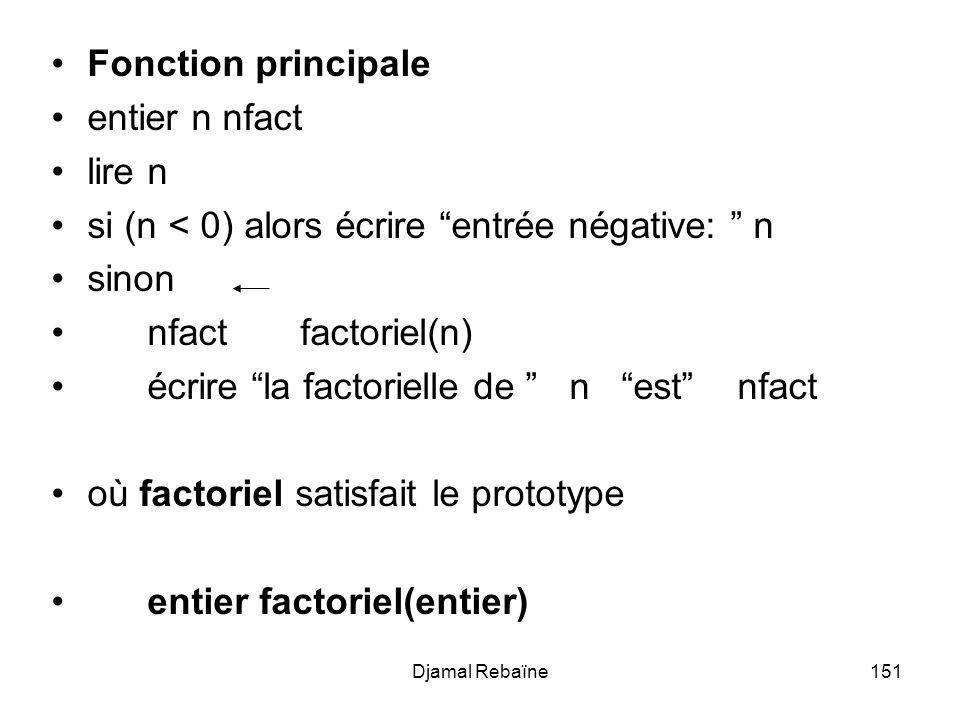Djamal Rebaïne151 Fonction principale entier n nfact lire n si (n < 0) alors écrire entrée négative: n sinon nfact factoriel(n) écrire la factorielle de n est nfact où factoriel satisfait le prototype entier factoriel(entier)