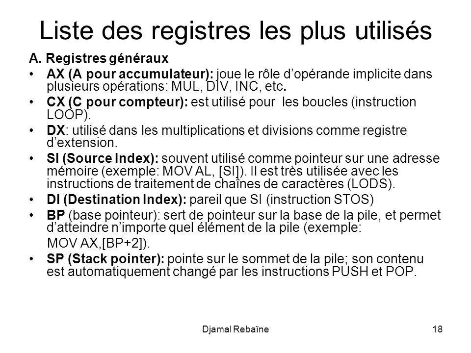 Djamal Rebaïne18 Liste des registres les plus utilisés A. Registres généraux AX (A pour accumulateur): joue le rôle dopérande implicite dans plusieurs