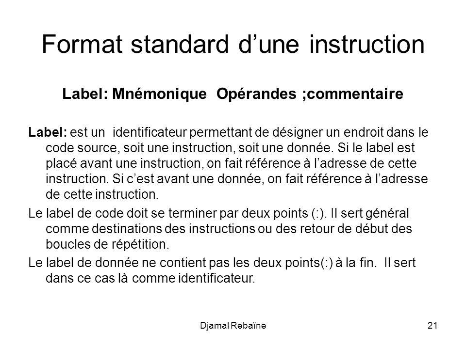 Djamal Rebaïne21 Format standard dune instruction Label: Mnémonique Opérandes ;commentaire Label: est un identificateur permettant de désigner un endroit dans le code source, soit une instruction, soit une donnée.