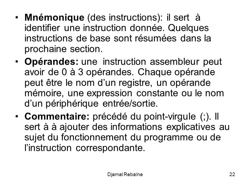 Djamal Rebaïne22 Mnémonique (des instructions): il sert à identifier une instruction donnée. Quelques instructions de base sont résumées dans la proch
