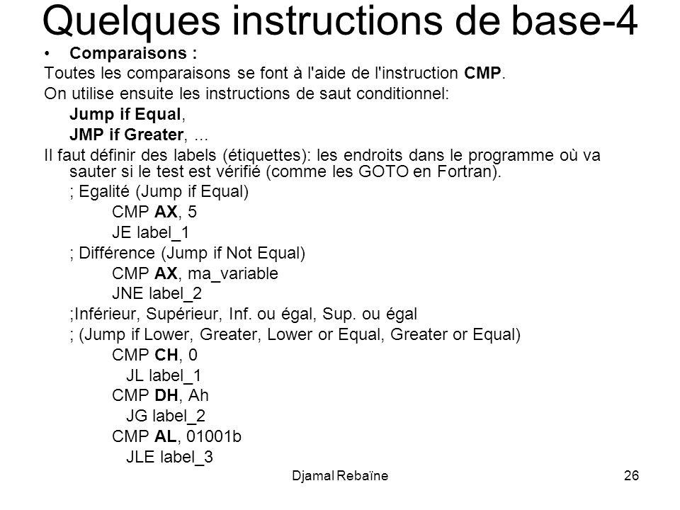 Djamal Rebaïne26 Quelques instructions de base-4 Comparaisons : Toutes les comparaisons se font à l'aide de l'instruction CMP. On utilise ensuite les