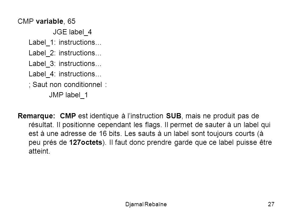 Djamal Rebaïne27 CMP variable, 65 JGE label_4 Label_1: instructions... Label_2: instructions... Label_3: instructions... Label_4: instructions... ; Sa